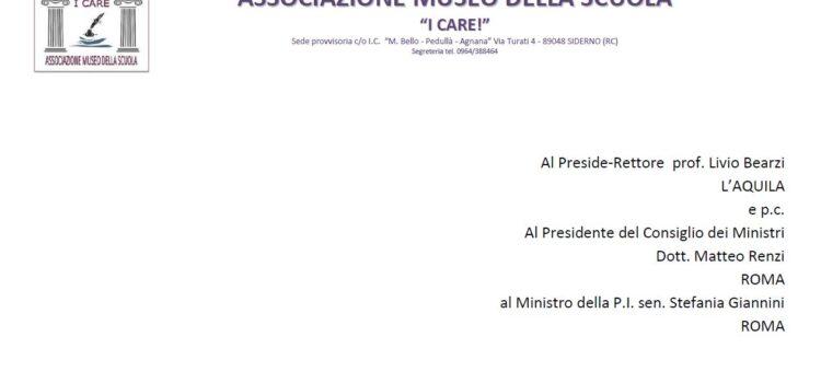Lettera al Preside-Rettore prof. Livio Bearzi